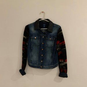 Guess Denim Jacket with Patterned Sleeves